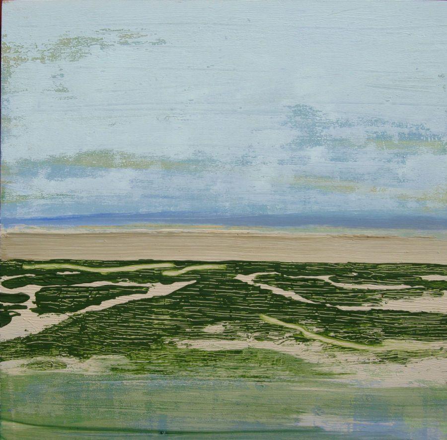 Eau, terre et ciel III, huile sur bois 30x30