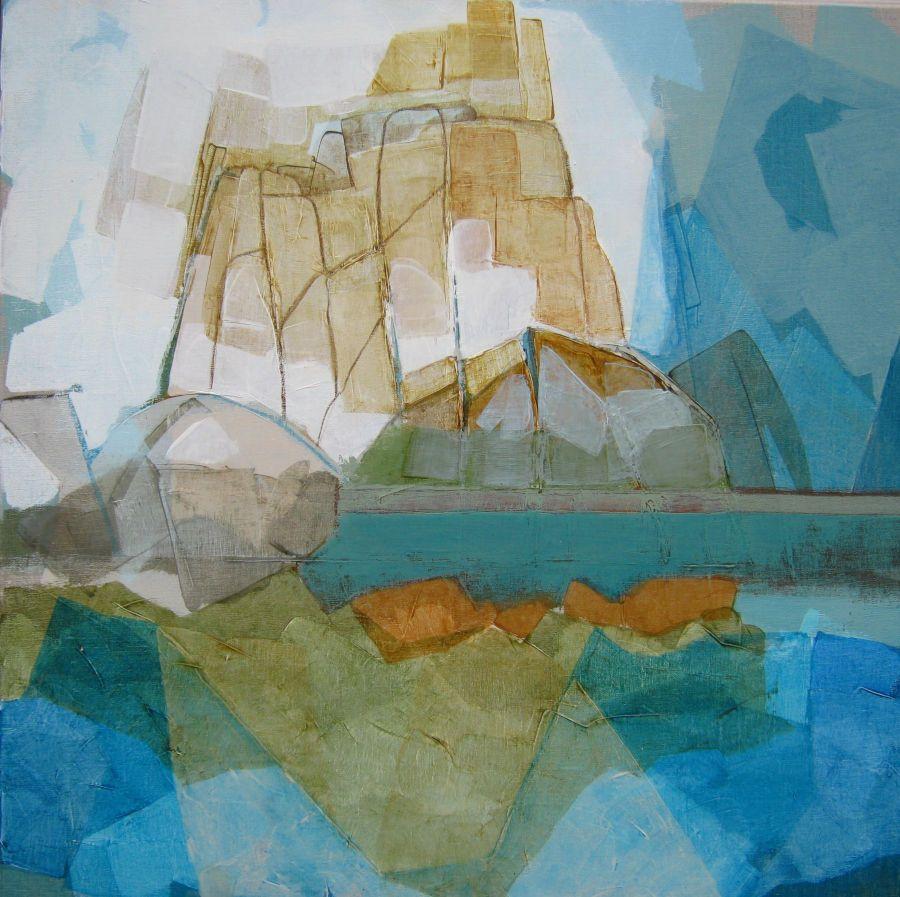 Reflet, huile sur bois, 80x80