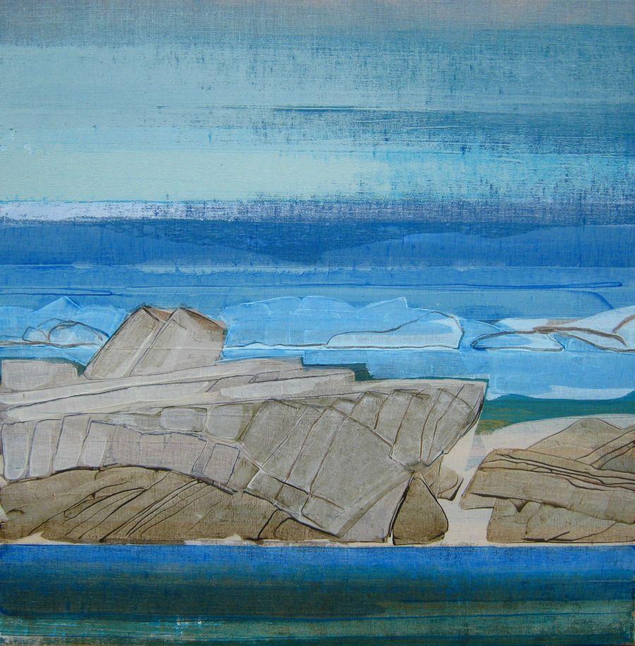 Rochers III, huile sur toile, 80x80