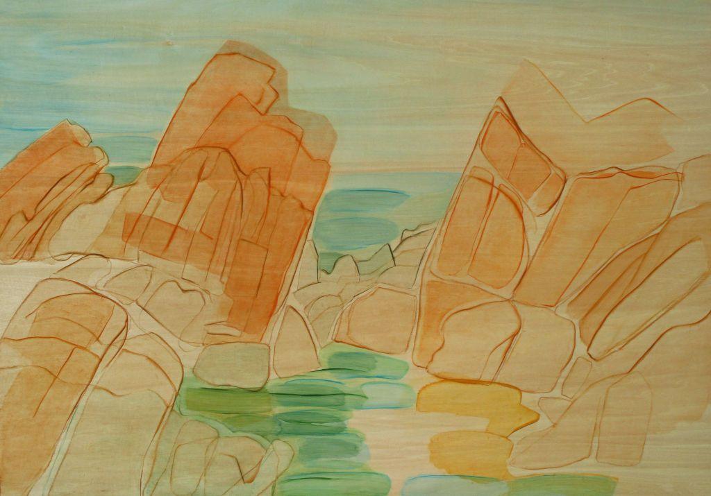 Porto Vecchio II, huile sur bois, 70x100