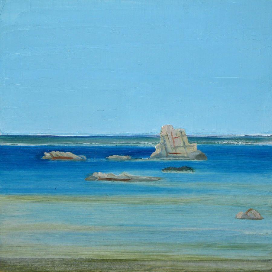 Baie di Rondinara II, huile sur bois, 30x30